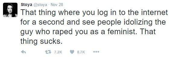 """""""Ten pocit, když se na chvíli podíváte na internet a lidé tam vzývají chlapa, který vás znásilnil, jako feministu. Ten pocit je na hovno."""""""