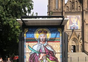 An exhibition on the occasion of the 1100th anniversary of the death of St. Ludmila can be seen on Peace Square