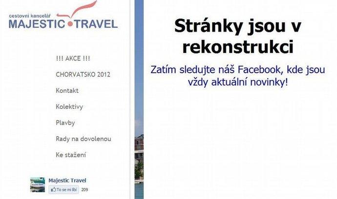 Tak vypadají dnes stránky cestovky Majestic Travel