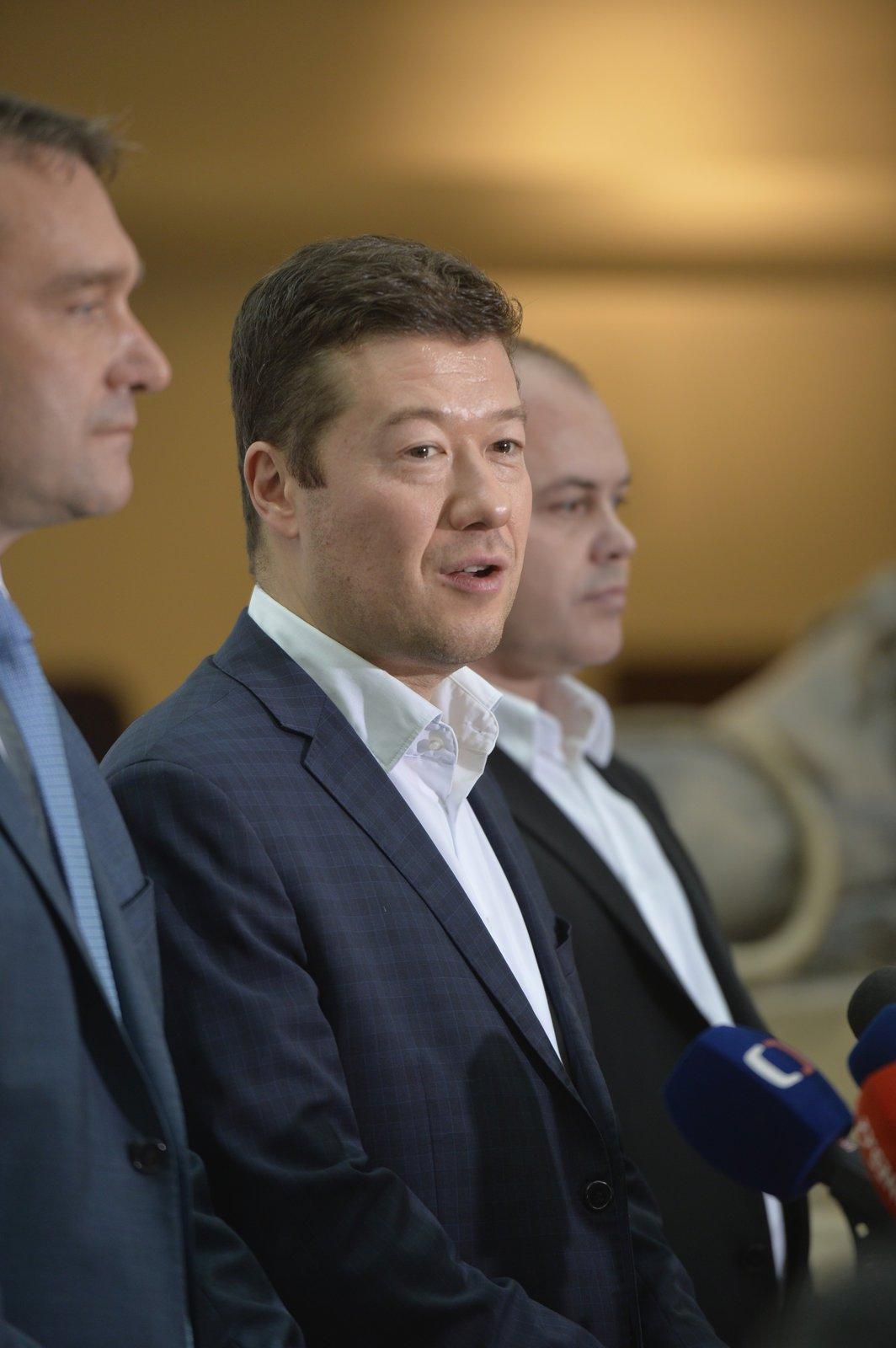 Tomio Okamura na tiskovce SPD po ustavení poslaneckého klubu strany