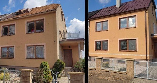Stejná místa krátce po tornádu a po třech měsících