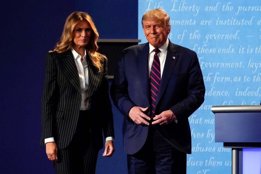 Předvolební debata v USA: Americký prezident Donald Trump a jeho žena Melania (29. 9. 2020)
