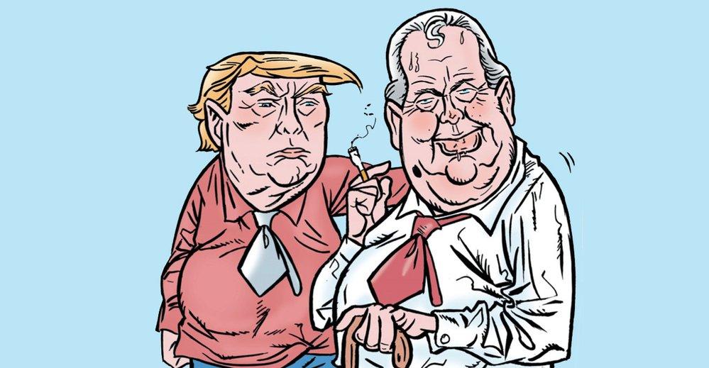 Donald Trump, Miloš Zeman - ilustrační kresba.