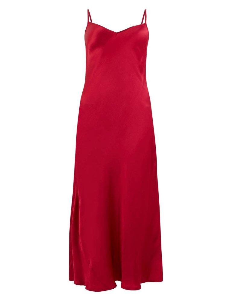 Červené midi šaty na ramínka, Marks Spencer, 1499 Kč
