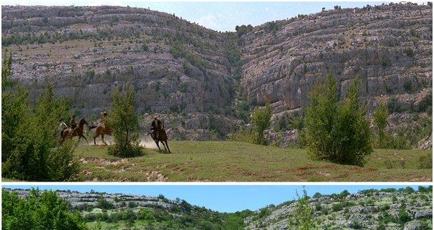 Manolovački slapovi v Národním parku Krka v roce 1963 při natáčení filmu Vinnetou I a stejné místo v roce 2021.