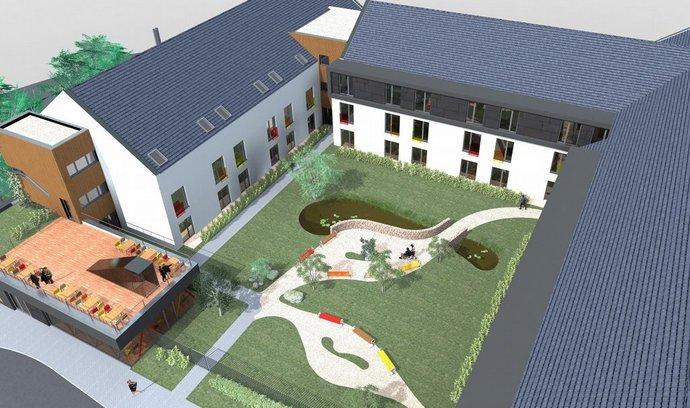 Vizualizace projektu pečovatelského domu společnosti Anavita v Praze Slivenci, jehož otevření se chystá na rok 2017.