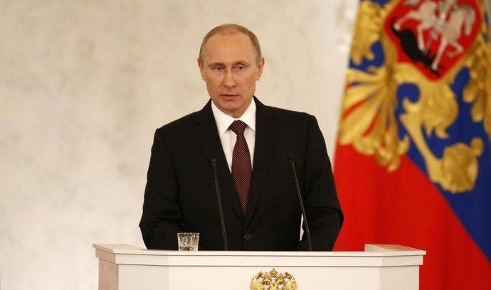 Vladimir Putin během projevu v Moskvě