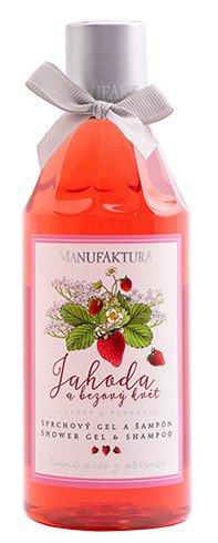 Jemný hydratační sprchový gel a šampon Jahoda & Bezový květ, Manufaktura, 169 Kč