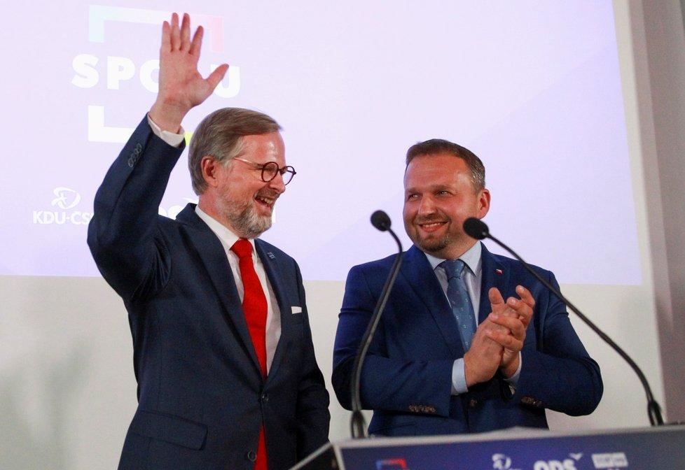 Leader koalice Spolu Petr Fiala: Koalice porazila ANO Andreje Babiše (9. 10. 2021)