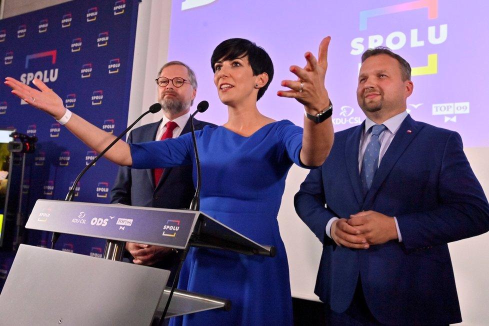 Markéta Pekarová Adamová, předsedkyně TOP 09 slaví. Koalice Spolu porazila ANO Andreje Babiše