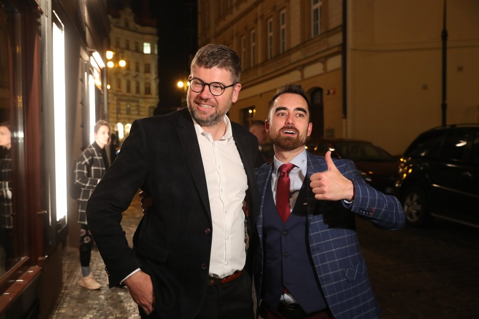 Koalice Spolu slavila vítězství ve volbách: Jiří Pospíšil (TOP 09, vlevo) (9.10.2021)