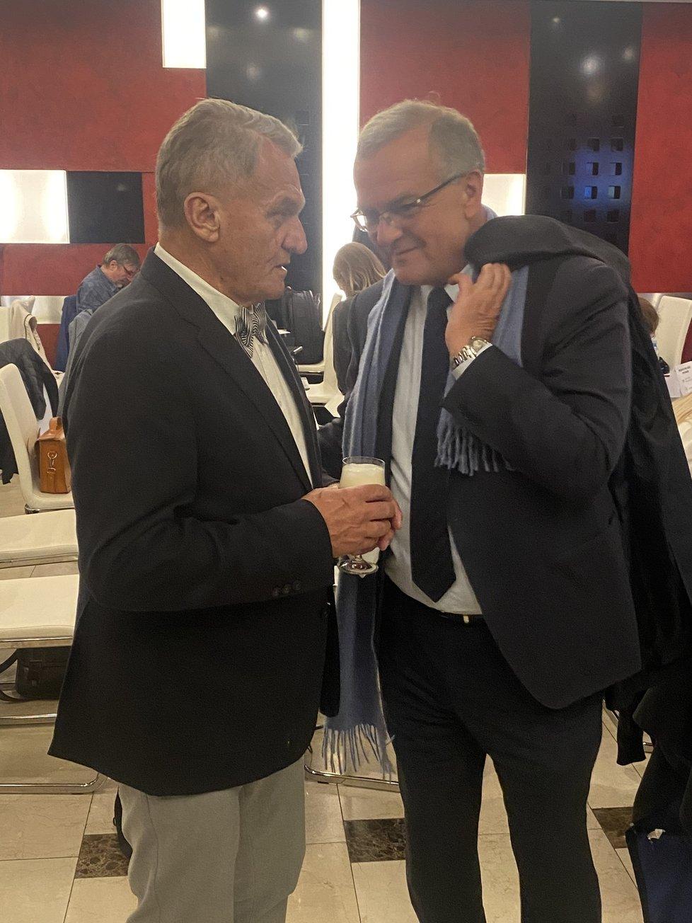 Štáb Spolu: Bhuslav Svoboda (ODS) a Miroslav Kalousek (TOP 09) (9.10.2021)