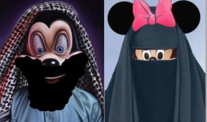 Vousatý myšák Mickey a Minnie v čádoru