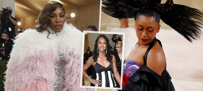 """Serena Williamsová s Noami Ósakavovou zvolily na """"Met Gala"""" výstřední modely, finalistka letošního US Open Leylah Fernandezová ohromila svět módy modelem decentnějším, ale o to víc sexy"""