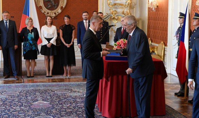 Prezident Miloš Zeman jmenoval Andreje Babiše (ANO) podruhé premiérem (6. 6. 2018)