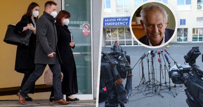 Kateřina a Ivana Zemanová na návštěvě prezidenta Miloše Zemana (ve výřezu) v Ústřední vojenské nemocnici (12. 10. 2021)