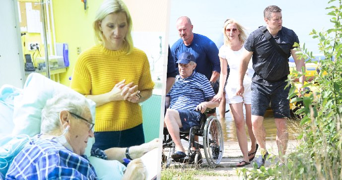 Prezident Miloš Zeman a blondýna z Lán, která je mu nablízku (14. říjen 2021)