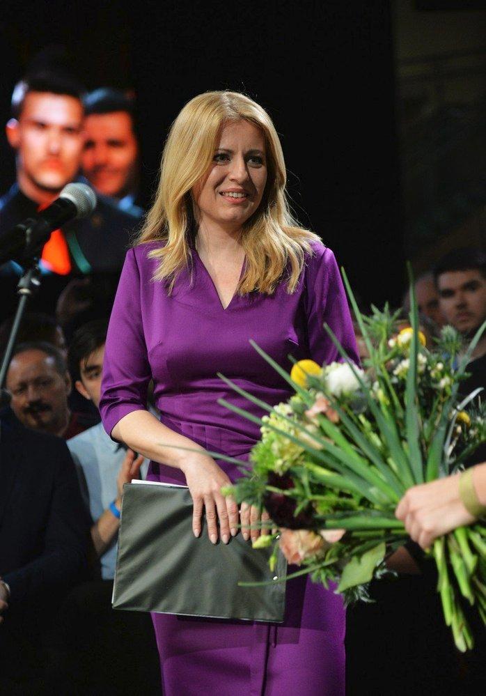 Zuzana Čaputová ve svém volebním štábu