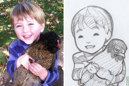 Senzační karikatury dětí a zvířat. Umělec tvoří z fotek lidí vtipné obrázky