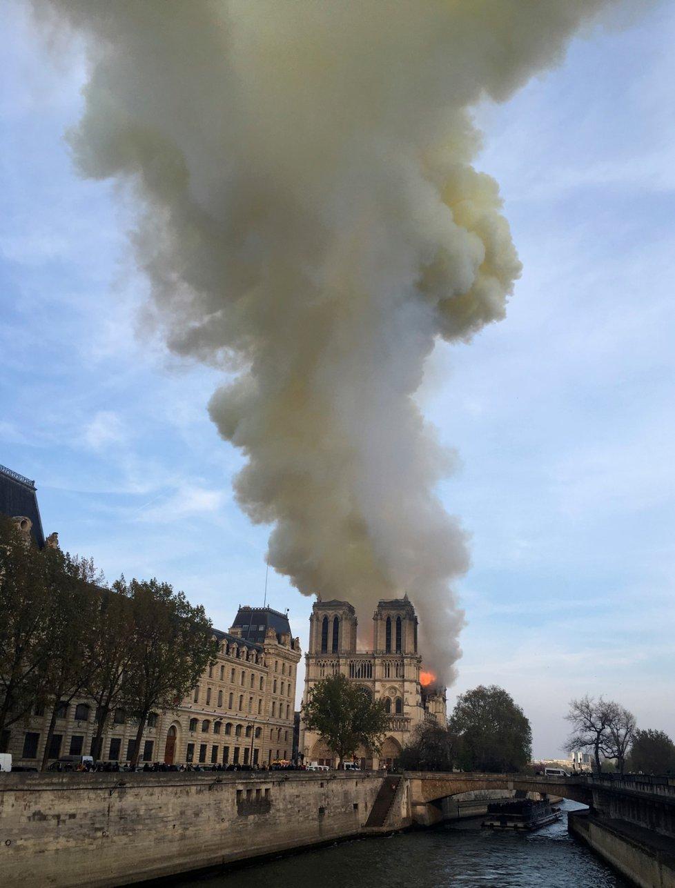 V pařížském Notre-Damu vypukl 15.4.2019 požár