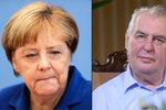 Káravý prst, vítačka uprchlíků: Zeman tepe Merkelovou, kdysi ji vzýval