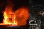 Autobus na dálnici D10 zachvátily plameny. Cestující včas utekli do bezpečí