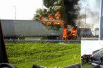 Děsivá nehoda na dálnici D1: Rumunský kamion lehl popelem