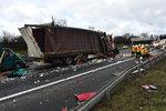 Na 14. kilometru D1 se srazily čtyři kamiony: Za nehodu může opilý řidič
