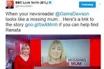 Zmizelá Renata vypadá jako naše moderátorka, tvrdila stanice BBC. Schytala to hned od diváků