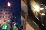 Z bytu na Chodově vyšlehly plameny: Hasiči zachraňovali lidi z balkonů
