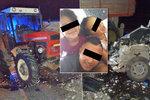 Srážka traktoru a osobáku: Klaudinka (4) je po operaci hlavy v umělém spánku, Kájinka (7) má otřes mozku, policie zkoumá žárovky