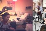 Kojit v kosmeťáku je IN?! Klusová a Kerestešová krmí děti během zkrášlování