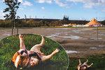 Vtipné foto z pražské Letné: Takhle se buldok Guru válel ve vichru