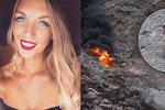 Blonďatá kráska zahynula v plamenech při pádu vrtulníku. Další žena ohni zázrakem utekla