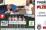 """Bizarní kampaň vrcholí: Primátor v popelnici, naháči i """"voňavá a šťavnatá"""" Plzeň"""