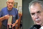 Zeman dá veteránu Bočkovi nejvyšší metál. Hrdinovi to řekl na 96. narozeniny