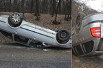 Řidič obrátil škodovku na střechu: Po nehodě nadýchal 2,52 promile