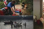 Silné bouřky na Slapech převrátily loď, zaplavily sklepy a blesk udeřil do domu