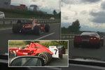 Formule 1 na dálnici D4 u Příbrami: Nelegální testovací jízda! Za ní profrčela corvetta