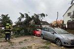 Zimní bouře s blesky vtrhla do Prahy! Lámala stromy a strhávala plechy, přes cestu shodila lampu
