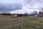 U Písku se srazil osobák s autobusem: Na místě zasahoval vrtulník, zranilo se jedno dítě!