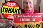 Blanka (88) vyhrála dalších 10 tisíc! Už druhá trefa do černého!