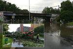 Liják udeřil v Praze plnou silou: Zatopil suterén Thomayerovy nemocnice i sklepy, stromy padaly do silnice!