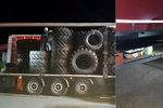 Zpod plachty někdo vykukoval: V kamionu se za pneumatikami na traktor krčili migranti