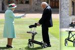 Veterán Tom (100) vybral chůzí miliony. Královna Alžběta II. ho pasovala na rytíře