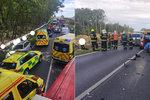 Hromadná nehoda na Plzeňsku: Zranilo se 6 lidí, včetně 2 dětí