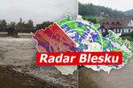 Zatopené domy i silnice. Povodně potrápily Česko, pršet bude znovu. Sledujte radar Blesku