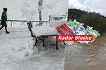 Extrémní lijáky vystřídají chladný víkend, mrazíky a přeháňky. Sledujte radar Blesku