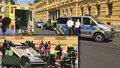 Auto na střeše blokovalo dopravu ve Spálené ulici: Záchranáři ošetřili zraněného muže (66)