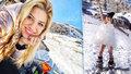 Eva Perkausová málem spustila lavinu: Na sněhu úplně nahá!